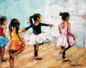 acrylic painting, girls ballet dance class