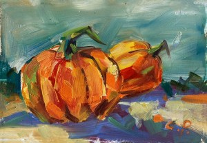 harvest pumpkins, original oil