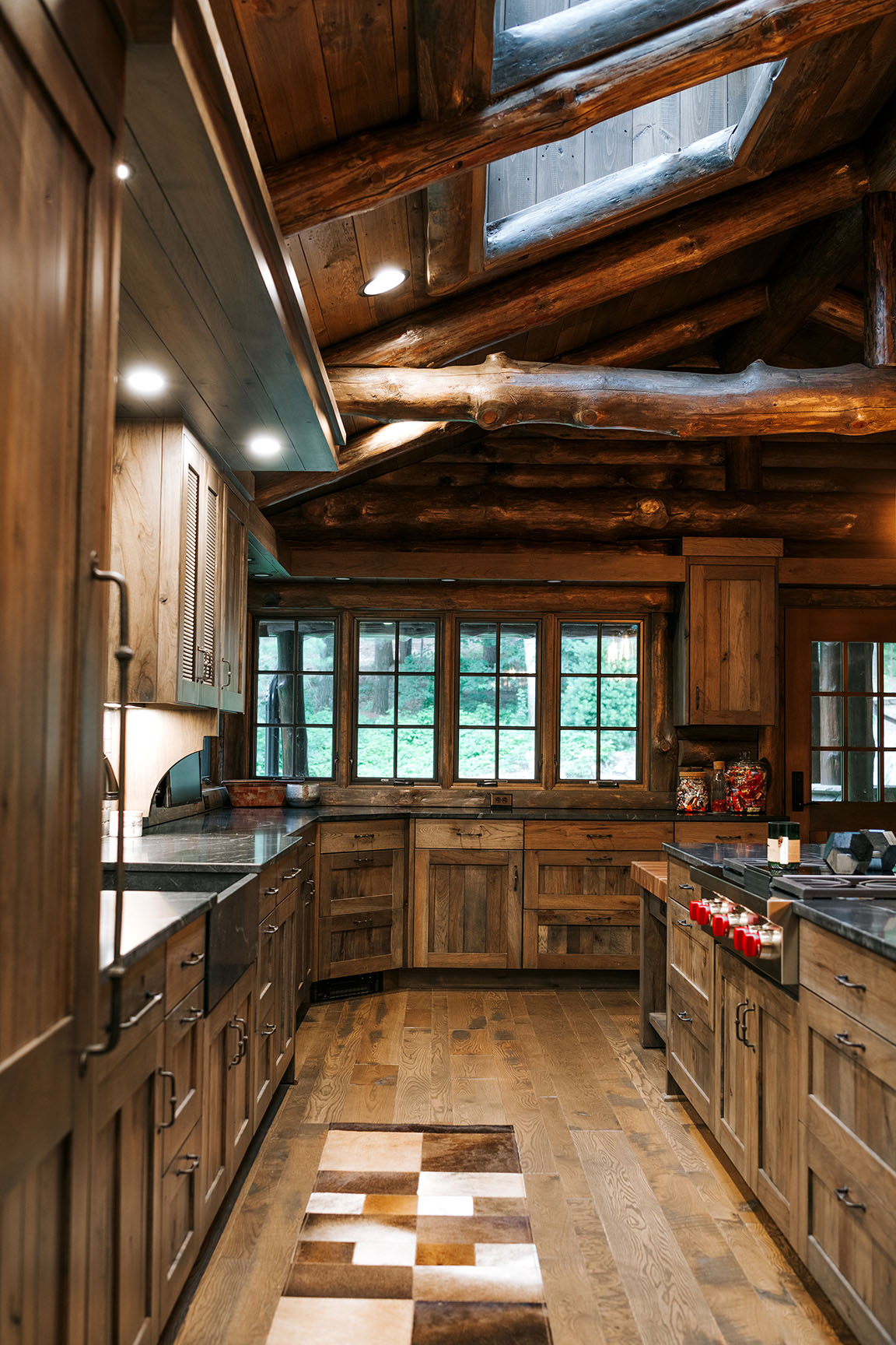 Distressed Rustic Hickory Kitchen Cabinets Alpine