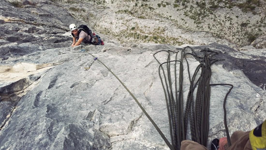 Doug finishing Pitch 2 on Tall Storey in Echo Canyon