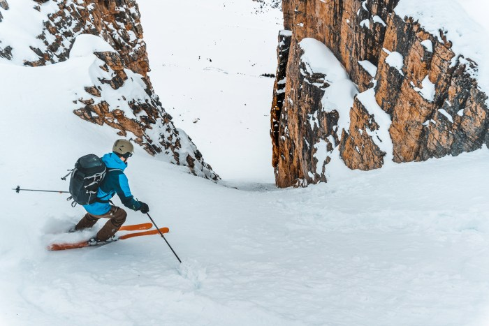 Skiing the Sugar Cube Couloir at Helen Lake
