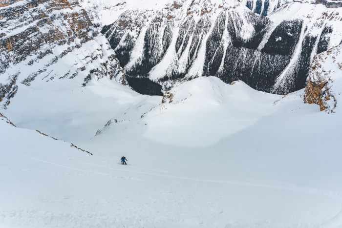 Skiing the upper pitches of Mt. Whymper