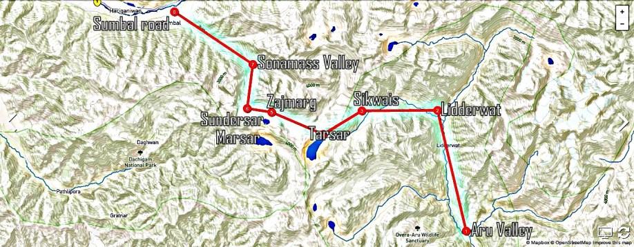 Tarsar Marsar Trekking Map