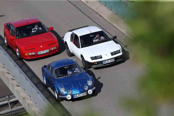 3 générations d'Alpine: A110, A310 et A610