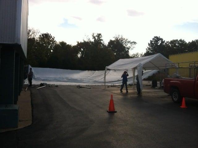 Alpine Shop's Winter Swap Tent Going Up