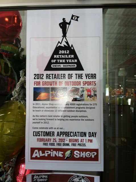 Alpine Shop - 2012 Retailer of the Year for Growth of Outdoor Sports