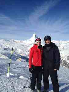"Abby and Steve Jones ""First run of the day under the Matterhorn in Zermatt, Switzerland... A picture perfect day in April for my husband and I to tackle skiing in the Alps. """