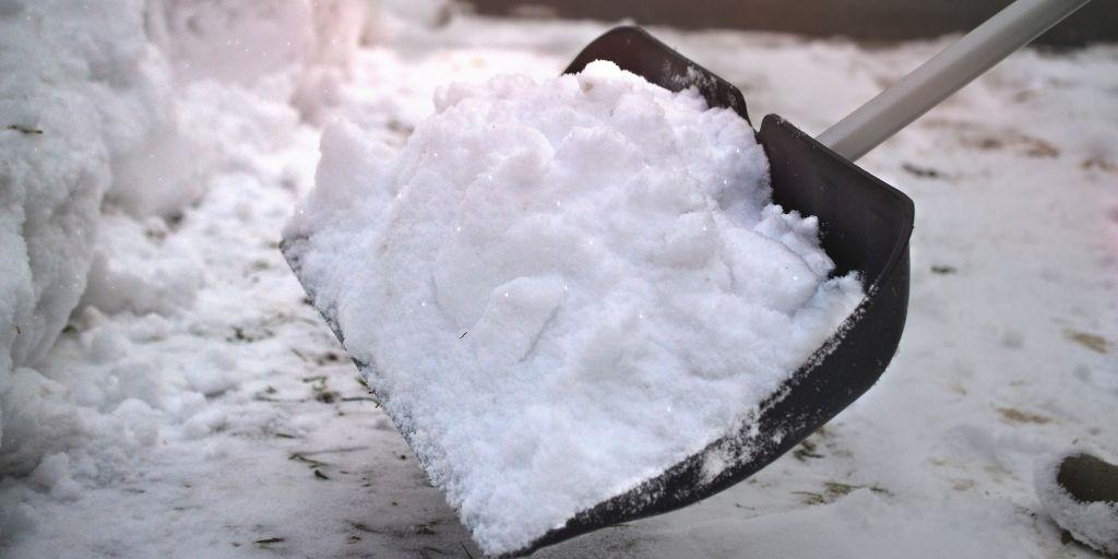 snow on a snow shovel