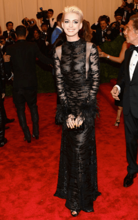 Anne Hathaway in Valentino rocking new bleached blonde locks