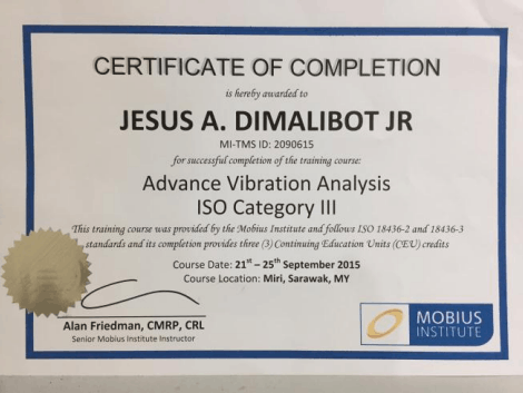 Vibration Analysis Certificate