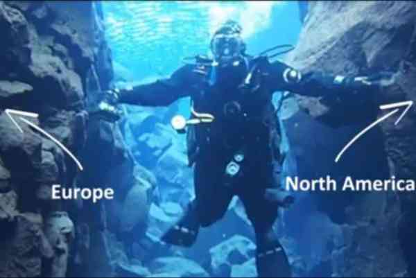 Divers-descend-between-North-American-and-Eurasian-continental-plates
