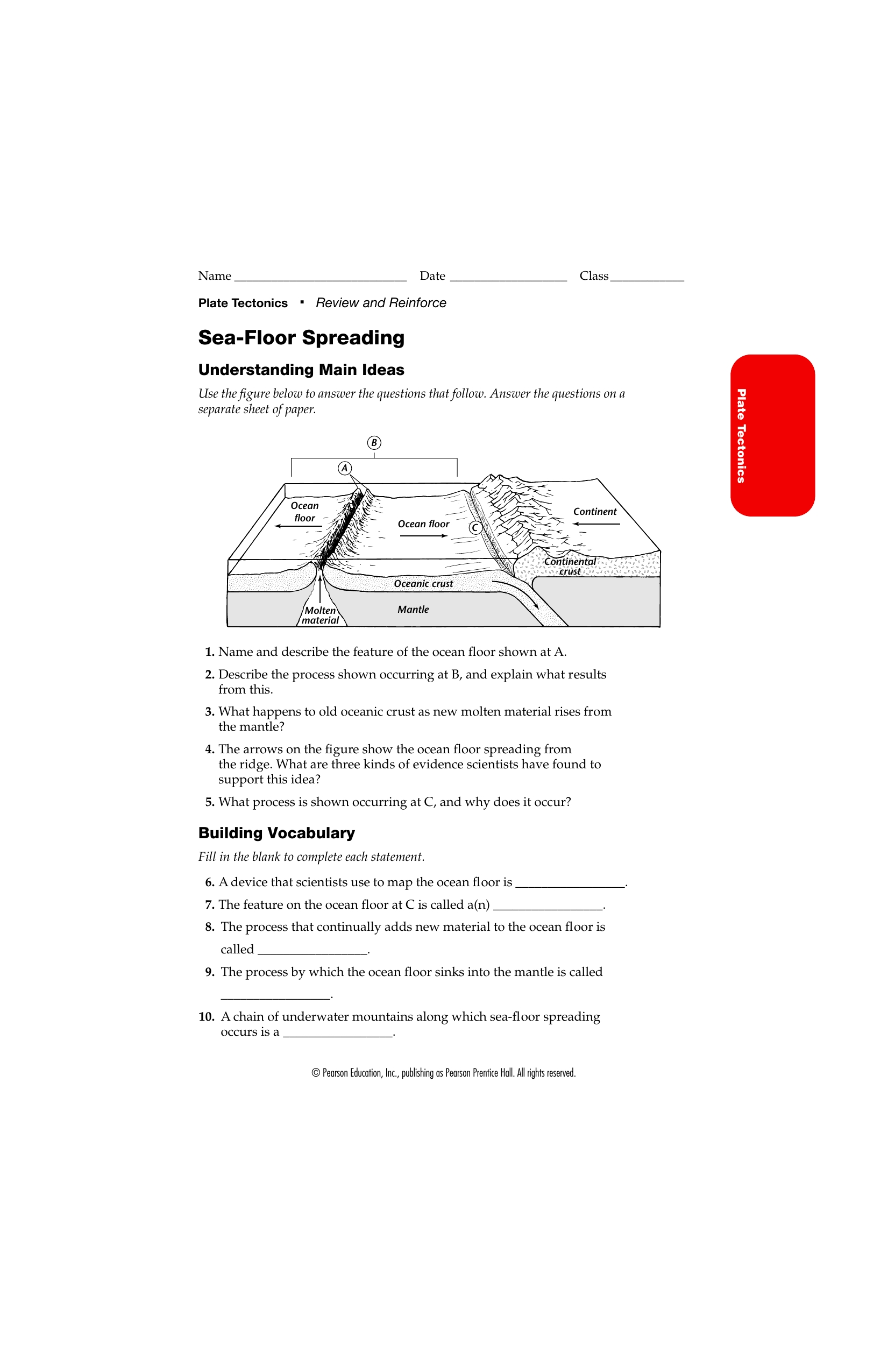 8 Pics Sea Floor Spreading Review And Reinforce Worksheet
