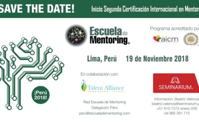 19 de Noviembre 2018 iniciamos 2º Certificación Internacional en Mentoring en Lima (Peru)