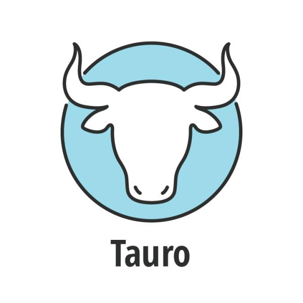 Signo zodiaco Tauro sobre fondo azul.