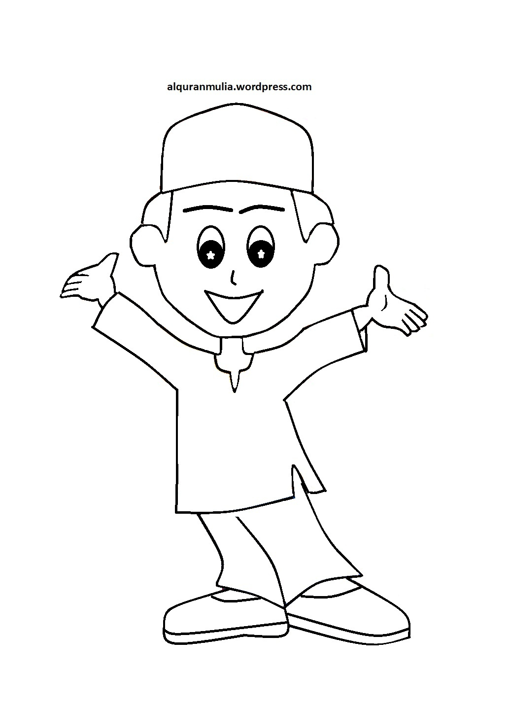 47 Mewarnai Gambar Anak Muslim Kartun Terbagus Lingkar Png