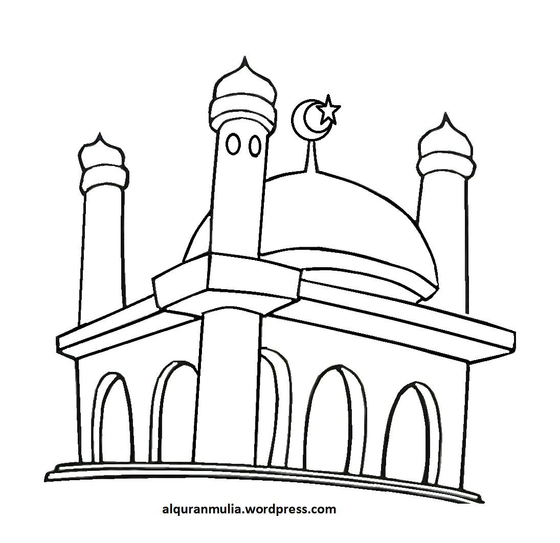 contoh gambar gambar masjid untuk mewarnai anak