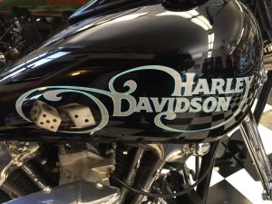 Harley-Davidson Motorcycle Tank with custom dice