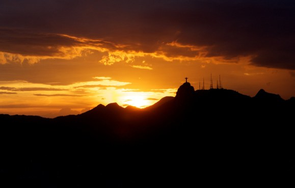 Rio's skyline, with the Redeemer catching the last of the rays.
