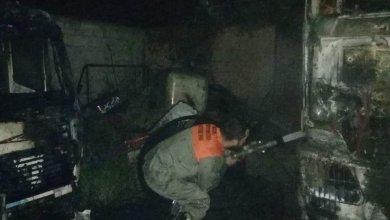 صورة إحتراق شاحنة في الصرفند