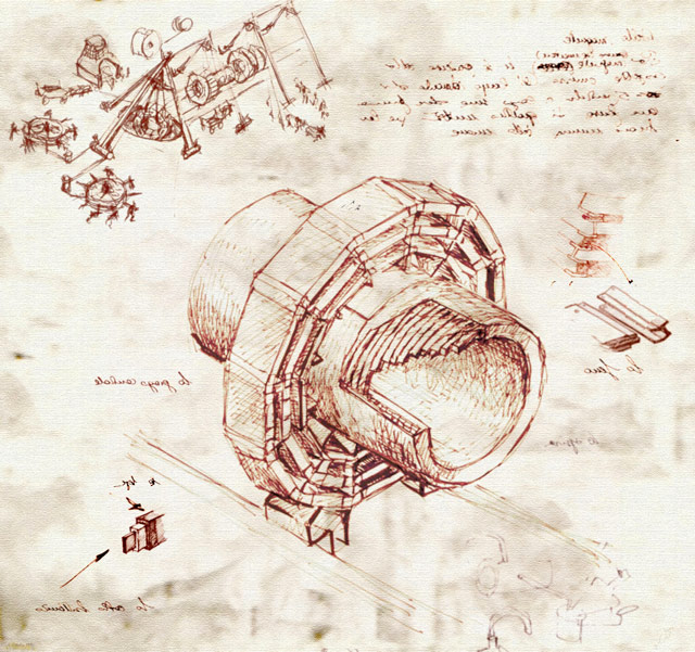 Drawings of the LHC in the style of Leonardo da Vinci