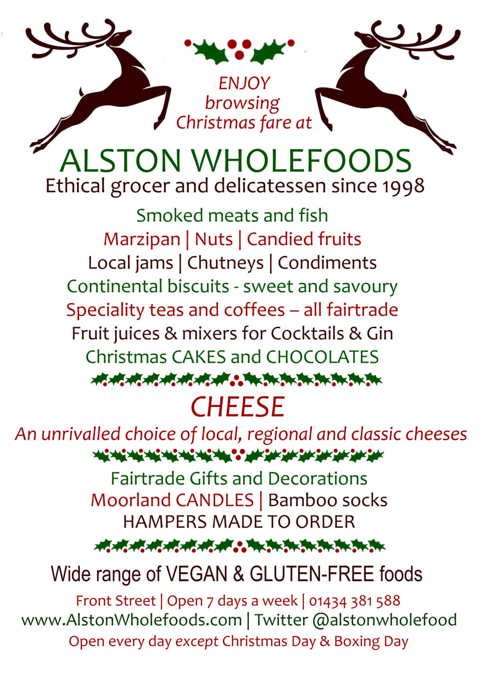 Browse Christmas fare at Alston Wholefoods
