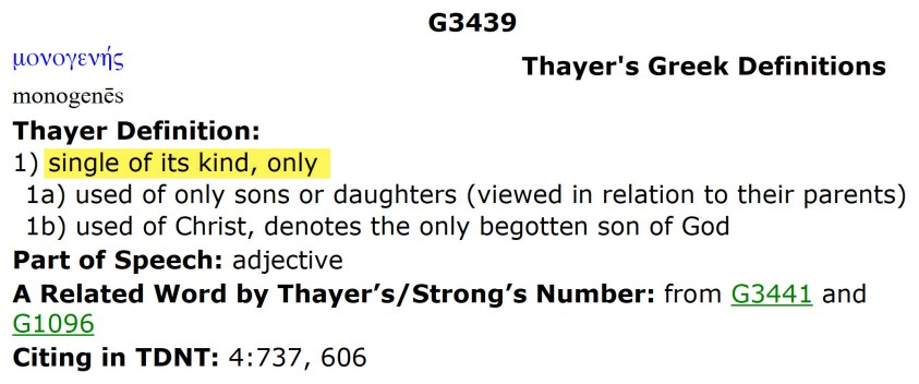 02 monogenes - Thayer's Greek Definitions