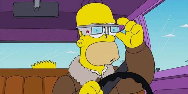 Homero usa las Google Glass en episodio de Los Simpsons