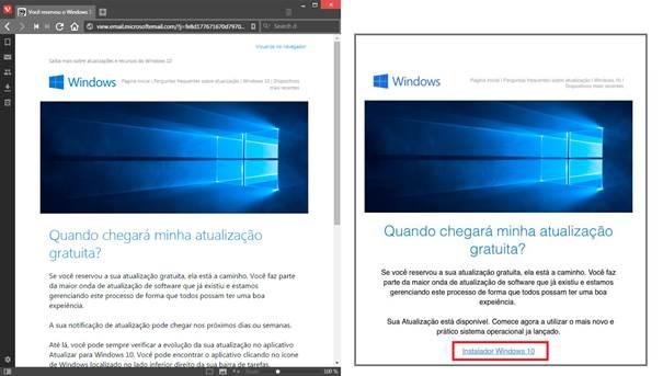 La página oficial de Microsoft Brasil está a mano izquierda y el correo spam ofreciendo falsas actualizaciones a Windows 10 está a la derecha.