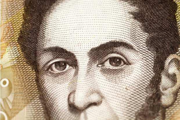 Billete con Simón Bolívar