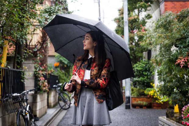 Mujer con paraguas un día de lluvia