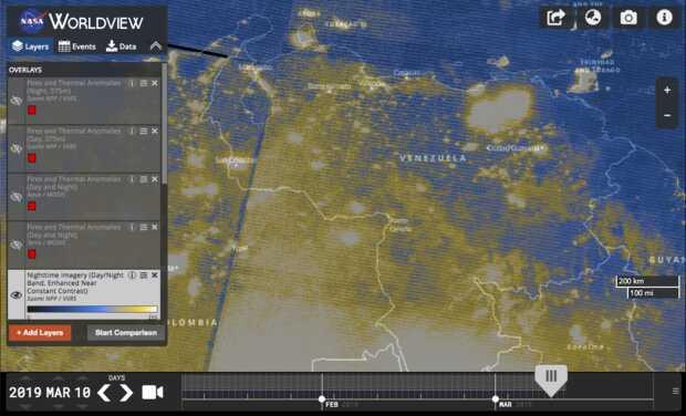 NASA: Nueva vista satelital de Venezuela en su quinto día de apagón