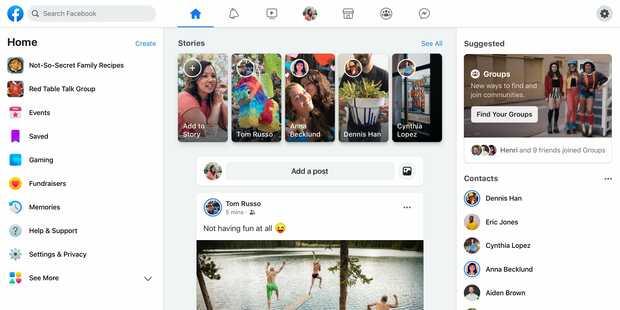 Nuevo diseño minimalista de Facebook con más protagonismo de los grupos