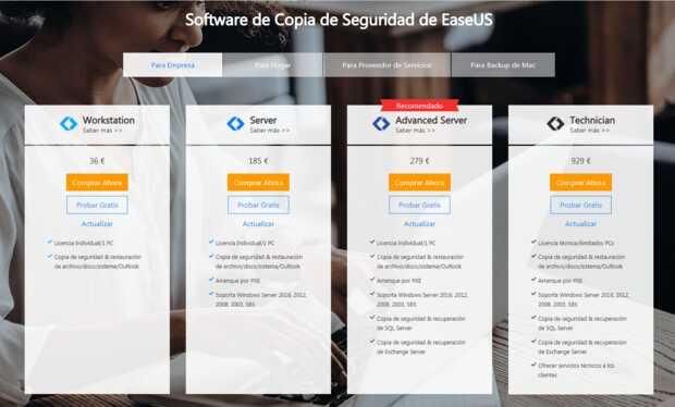 EaseUS Todo Backup también ofrece versiones empresariales