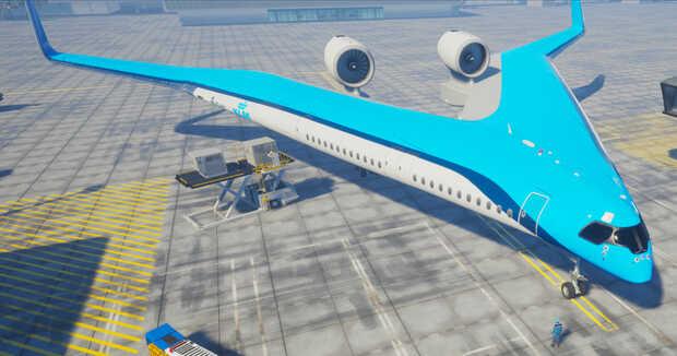 """Flying-V: Prueban con éxito avión de pasajeros con forma de """"V"""" ahorrador de combustible"""
