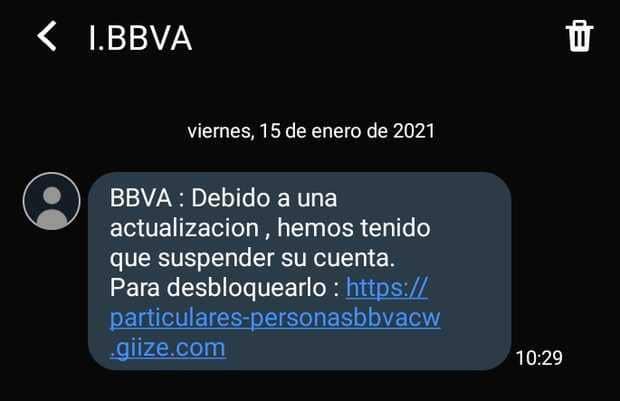 """""""Suspensión de cuenta"""": Alerta de phishing vía SMS a clientes BBVA España"""