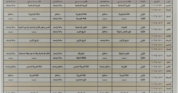جدول امتحان التوجيهي التكميلي عام 2020