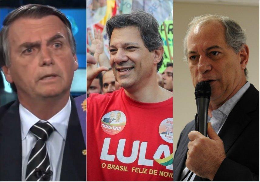 Bolsonaro, Haddad e Ciro: Candidatos a presidente à frente (fotos divulgação)