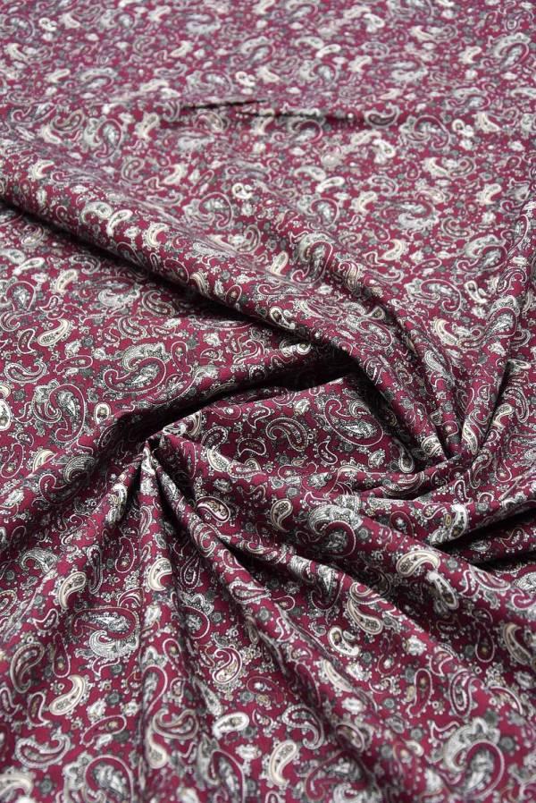 Хлопок рубашечный Пейсли на сливовом фоне (5601)_2
