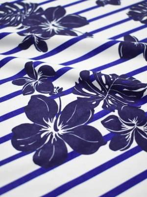 Трикотаж белый в синюю полоску с цветами 3