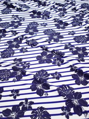 Трикотаж белый в синюю полоску с цветами 1