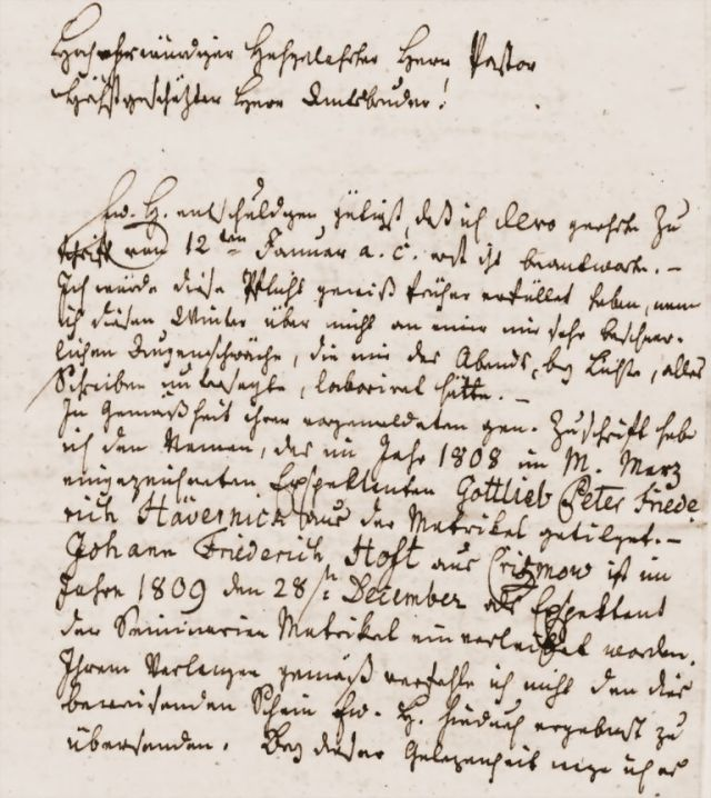 Letter of the referend of the Biestow church in old german handwriting, difficult to decipher