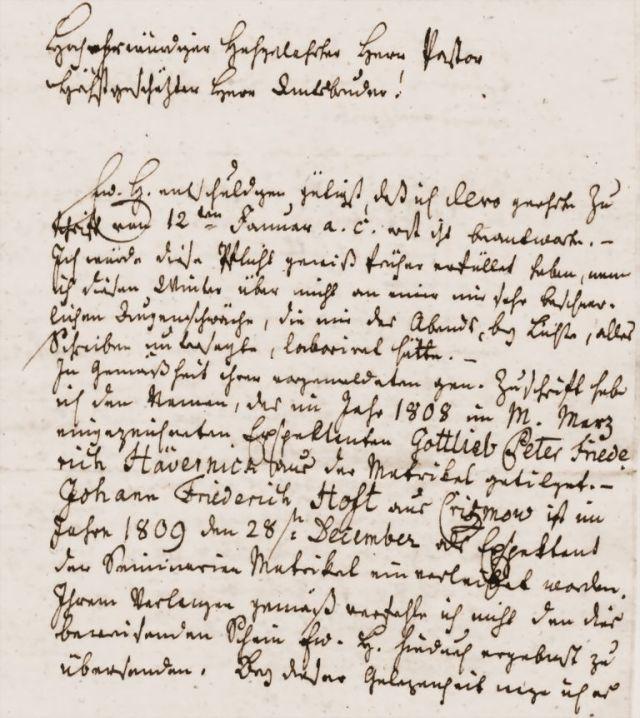 Brief des Pastors der Biestower Kirche in schwer entzifferbarer altdeutscher Handschrift