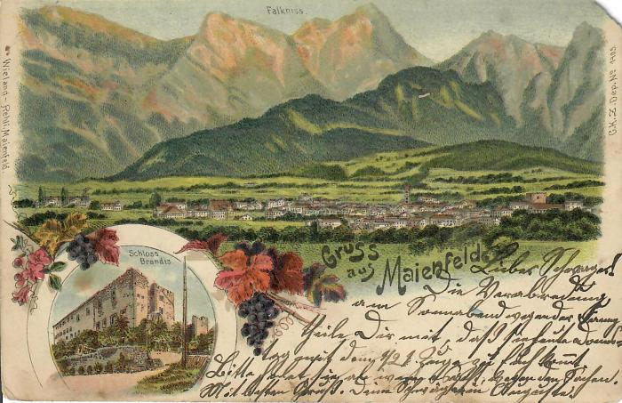 colored postcard of the mountain landscape of Maienfeld with greetings in old german script