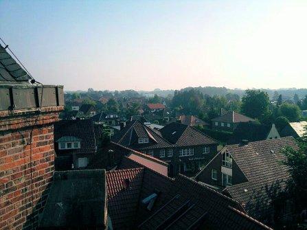 Blick vom Kirchendach auf ehemals Druckerei Heimann