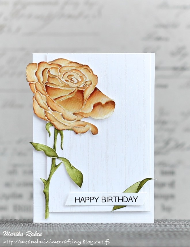 Stamps used: Sketchy Rose, Wood Pallet Background, Birthday Greetings.