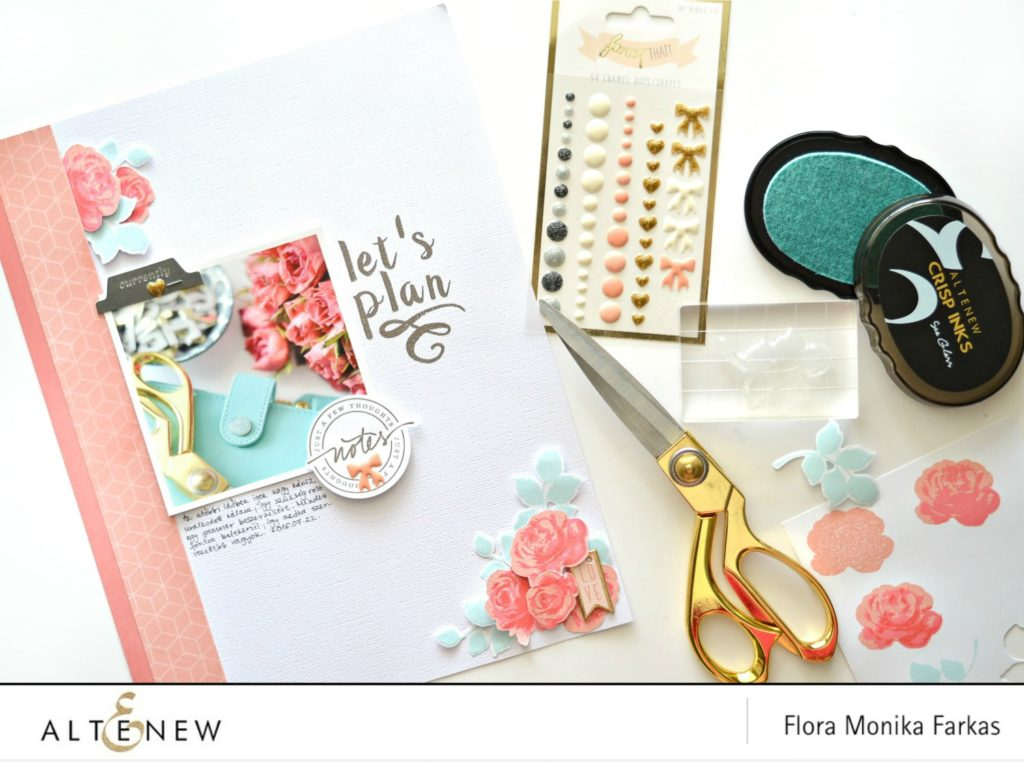 vintage roses on scrapbook layout 1