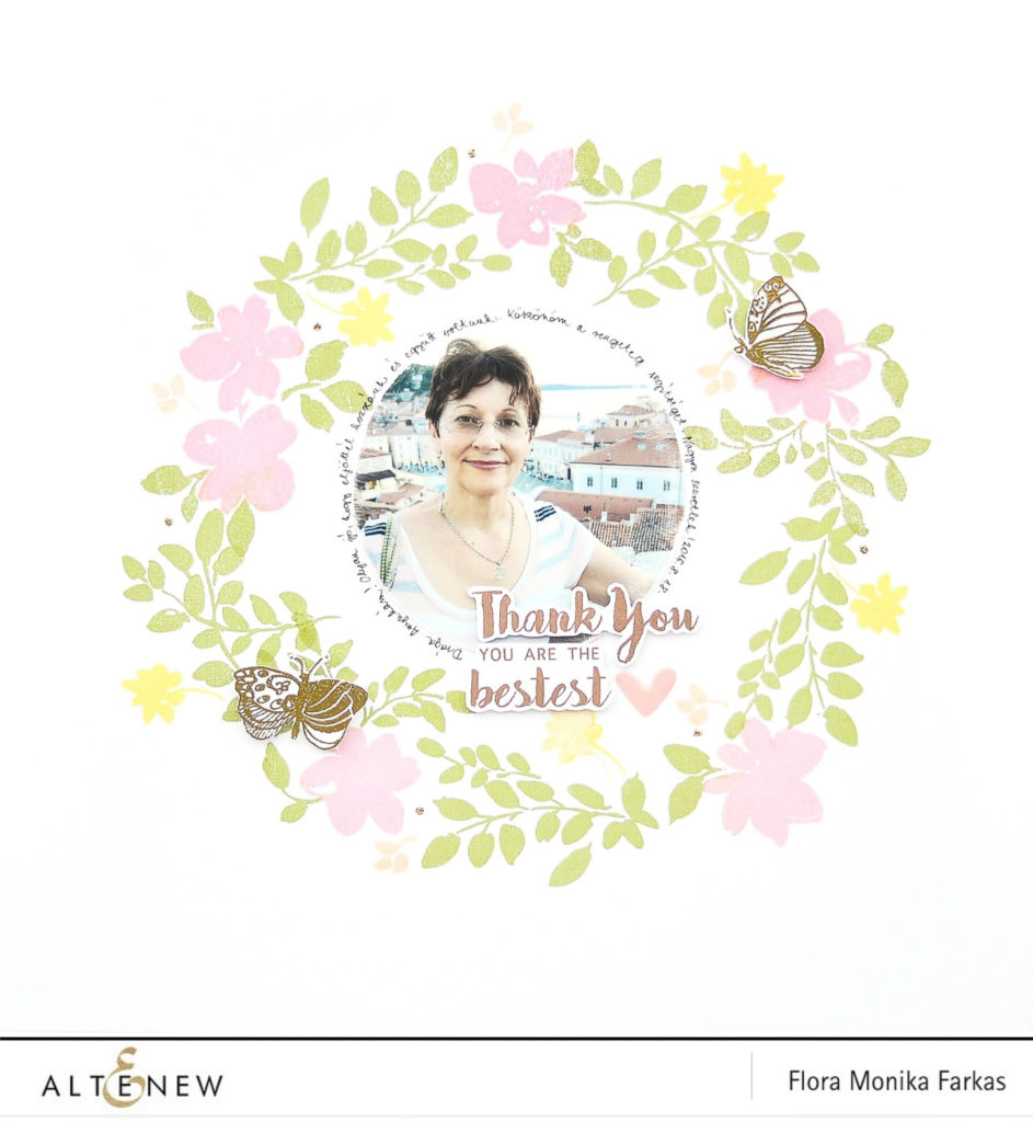 altenew floral wreath scrapbook layout by @floramfarkas-2