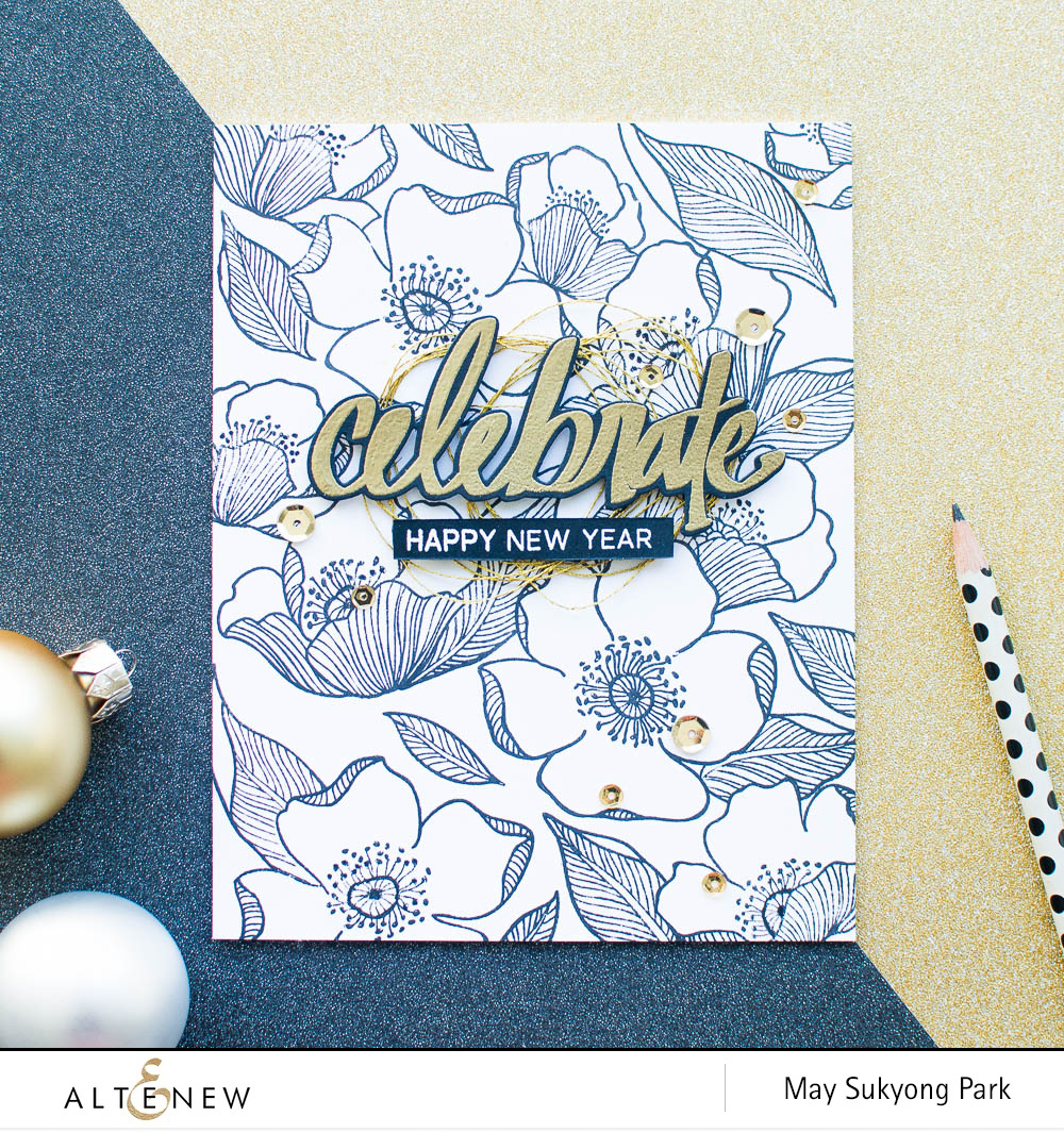 its may here today sharing a happy new year card i was planning to create a colorful watercolor card using outline images from adore you stamp set