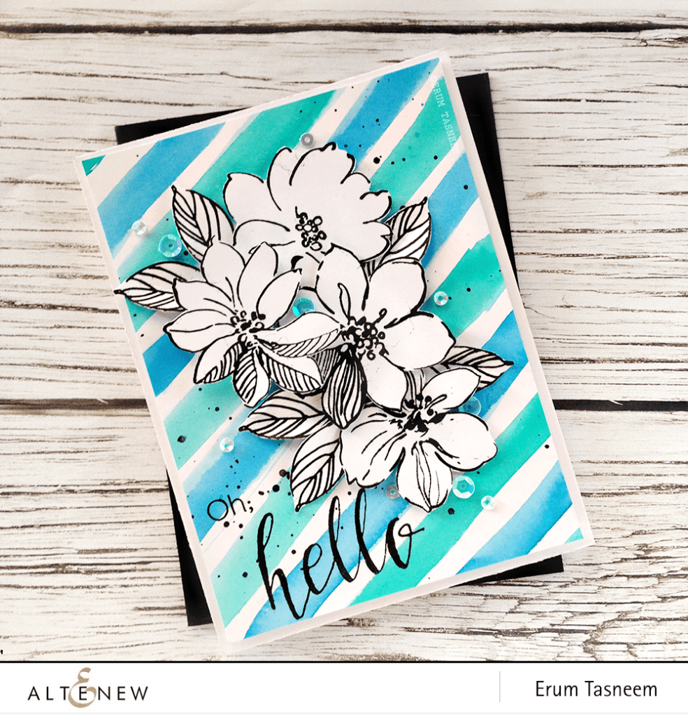 Altenew Wild Hibiscus and Halftone Hello stamps, watercolored striped background by @pr0digy0