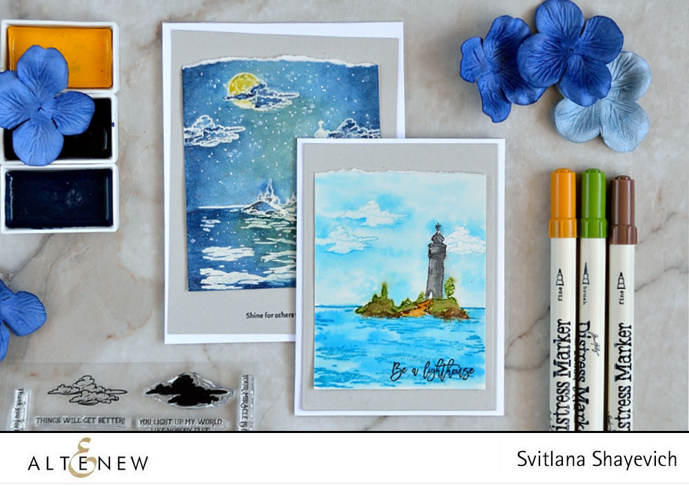 Altenew Be a Lighthouse. Card by @s_shayevich